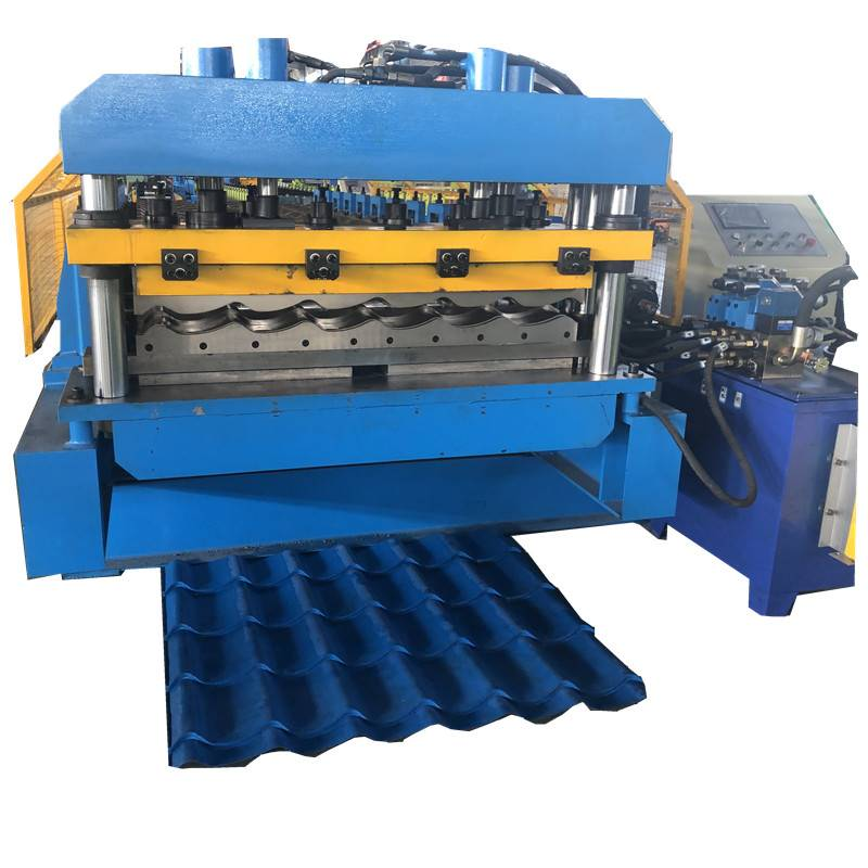 Manufactur standard Metal Glazed Tile Double Deck Roofing Roll Forming Machine - 1100 tile water ripper glazed step tile steel making roll forming machine – Zhongtuo