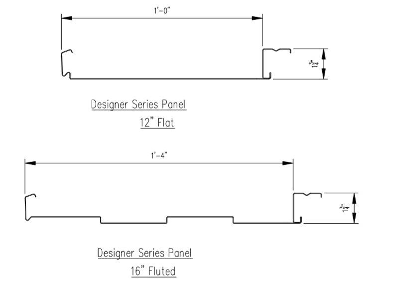 drawing profile of wall cladding panel