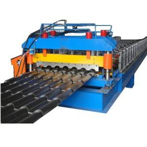 950mm Arc Glazed tile roofing making machine pillar frame